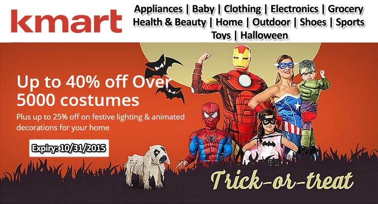 Celebrate Halloween with Kmart get up to 40% + additional 10% discount on Halloween Costumes and decor. Redeem the coupon now. For more Kmart Coupon Codes visit: http://www.couponcutcode.com/stores/kmart/