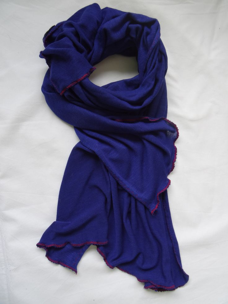 Electric Blue Dreams with Red Stitch Scarf  from Stylesetterz Handmade Scarves @ www.facebook.com/stylesetterzhandmadescarves