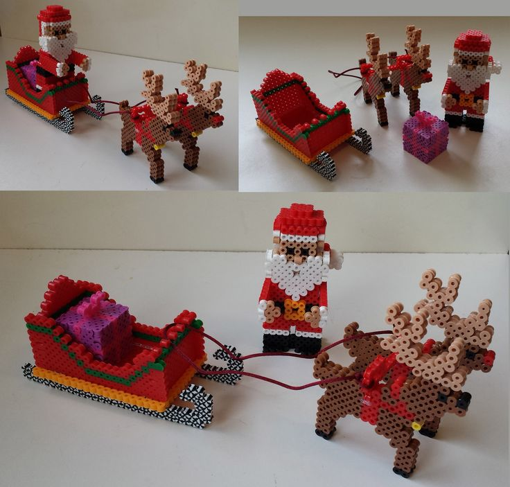 My perler 3D Santa, sleigh and reindeer all together.