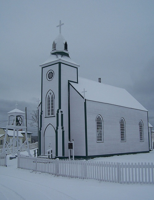 White on White, Wooden Catholic church in Trinity,Newfoundland