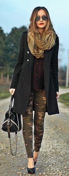 #winter #fashion / black coat + camouflage pants