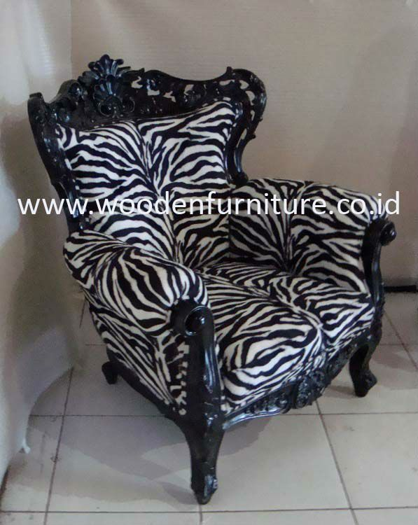 French Style Sofa Zebra Animal Print Antique Reproduction Chair Solid Mahogany Vintage Europe
