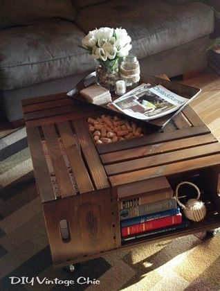 Mesa de centro con cajas de fruta / Cute, esta idea está super original...