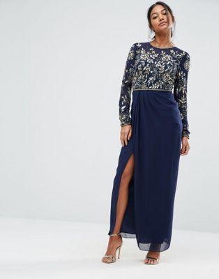 Платье макси с длинными рукавами и декоративной отделкой Virgos Lounge