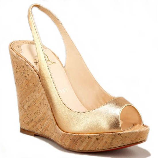 The cheapest Christian Louboutin Metallic Cork Platform Wedges Gold come  from UK Louboutin Sale mall with off is on hot sale now,,There are many  christian ...