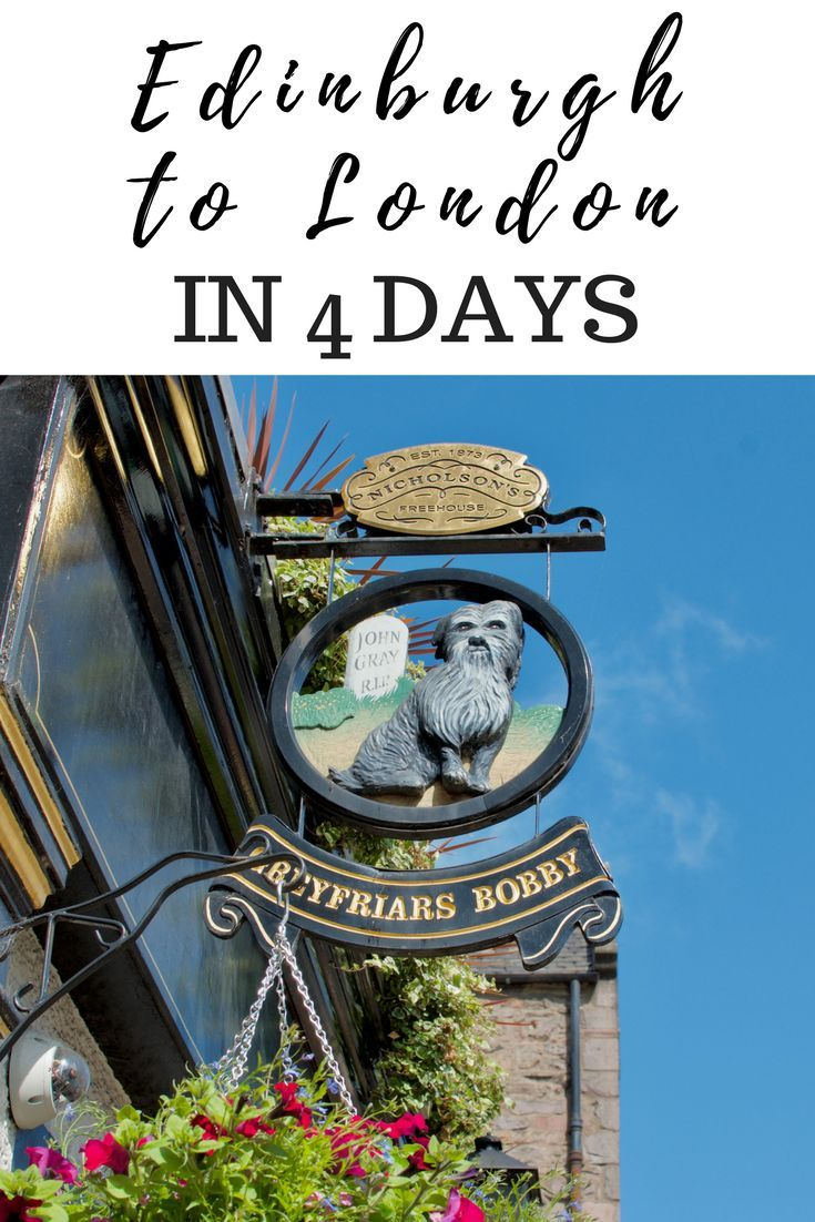 In this itinerary travel from Edinburgh to London in 4 days. Filled with highlights, food and drink recommendations, travel times and accomodation, this itinerary is detailed and can be adjusted for any traveler!