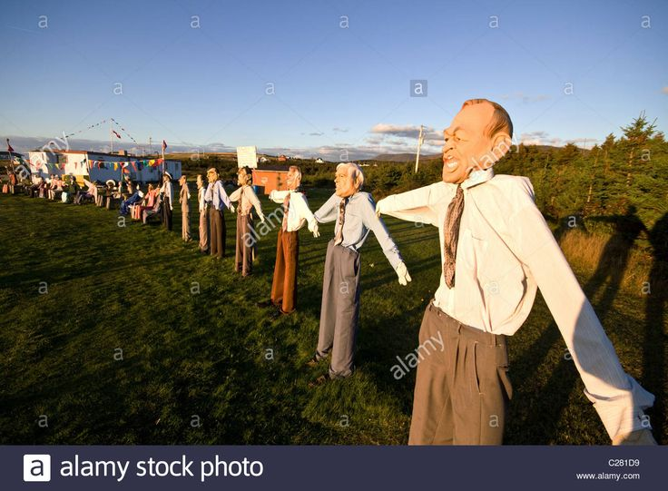 Download this stock image: Unusual scarecrow characters near the town of Cheticamp on west coast of Cape Breton Island, Nova Scotia, Canada - C281D9 from Alamy's library of millions of high resolution stock photos, illustrations and vectors.