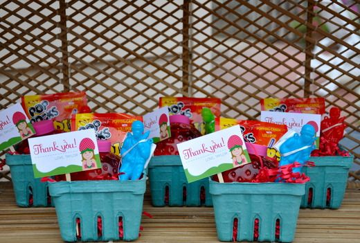 Strawberry Shortcake party favors in strawberry crates