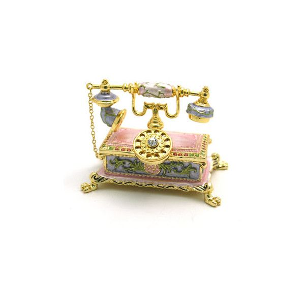 Vintage Telephone Trinket Box ❤ liked on Polyvore featuring home, home decor, small item storage, vintage, phones, backgrounds, decor, fillers, vintage trinket box and vintage home accessories