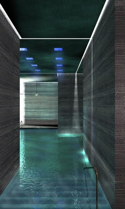 #87-phenomenology Peter Zumthor designed to engage all our sense in the thermal baths by engaging the body of the user throughout the space. water, light, material...