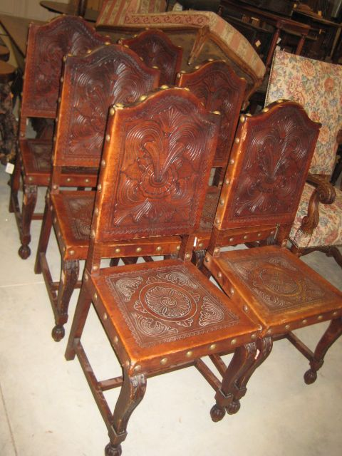 2092091 Set of six leather Spanish dining chairs For Sale | Antiques.com | Classifieds