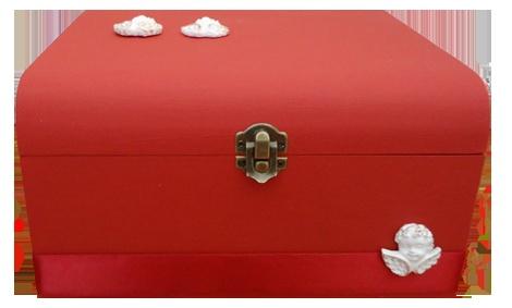 caixa de madeira pintada e decorada manualmente