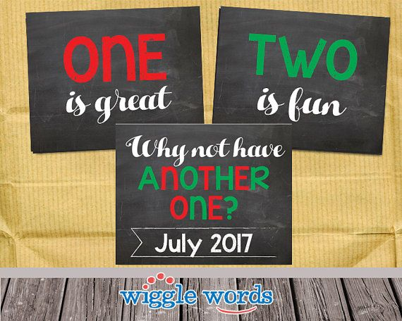 Third Baby Pregnancy Announcement Sibling Announcment Christmas by WiggleWords on Etsy