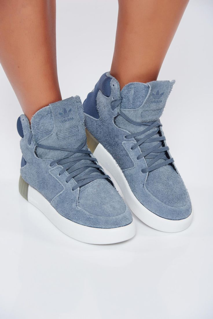 Grey casual Adidas sneakers from ecological suede with lace, upper material: ecological suede, Originals, with lace, low heel, manufactured fabric sole