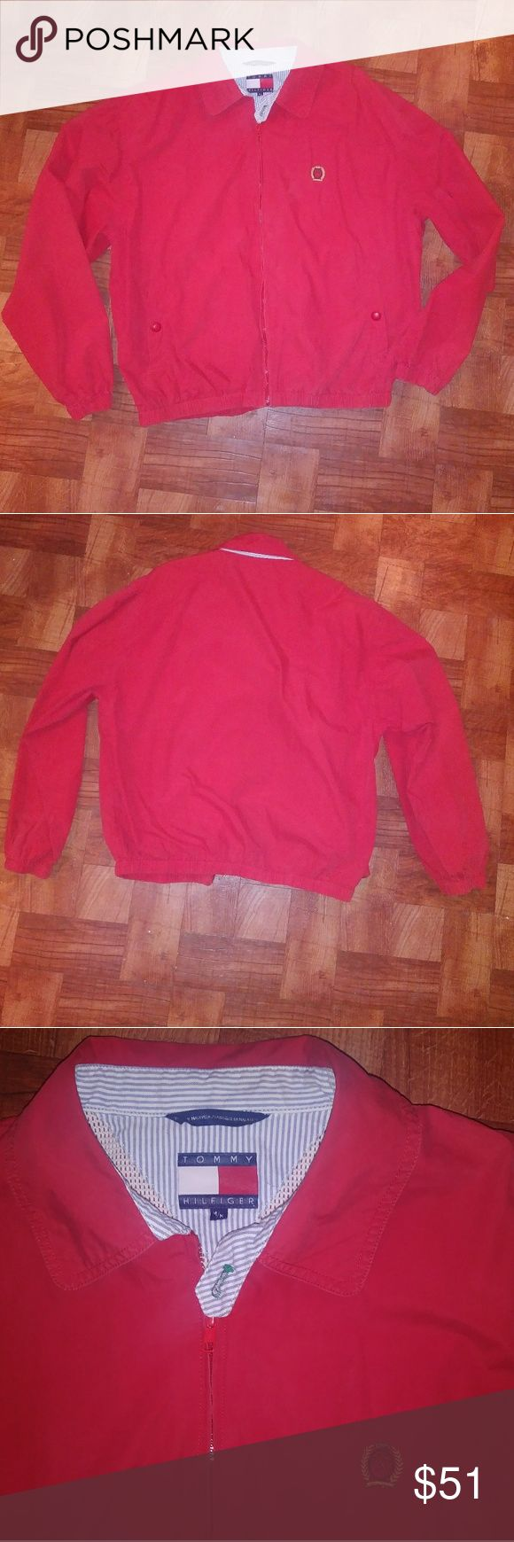 Vintage Tommy Hilfiger Red Bomber Jacket Your everyday look! Perfect lightweight.. No tears. Has wear and some fading but still great look! Zips and has button by collar. Buttons on side pockets as well. Loved 💕 Tommy Hilfiger Jackets & Coats Bomber & Varsity