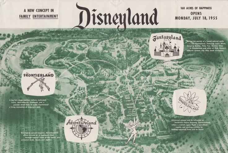Disneyland 1955 Map Original 1955 PRE-OPEN...