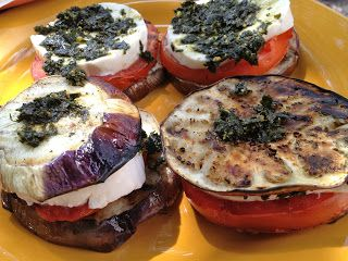 Grilled eggplant stacks.     A farmer's daughter, personal trainer, and registered dietitian's blog helping you become the healthiest by cooking and baking in a healthy way.