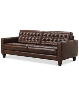 Bray Button Tufted Leather Sofa - Furniture - Macy's