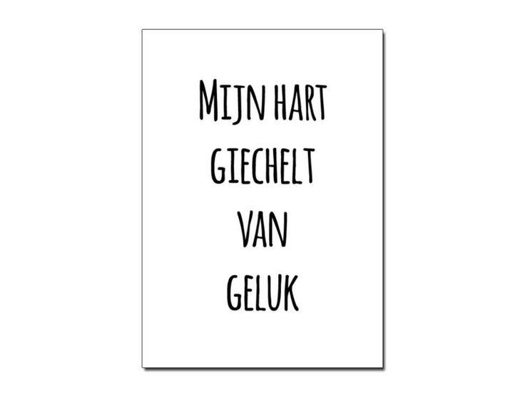 Ansichtkaart+A6+Mijn+hart+giegelt+zwart+wit+van+Zoedt+woonaccessoires+-+teksten+en+grafische+designs+op+DaWanda.com