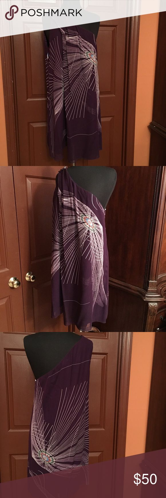 Max Studio by Leon Max Silk Limited Edition Dress Gorgeous one shoulder purple 100% silk dress by LEON MAX COLLECTION for Max Studio, size XL, in great condition worn once, dress is lined Max Studio Dresses Midi