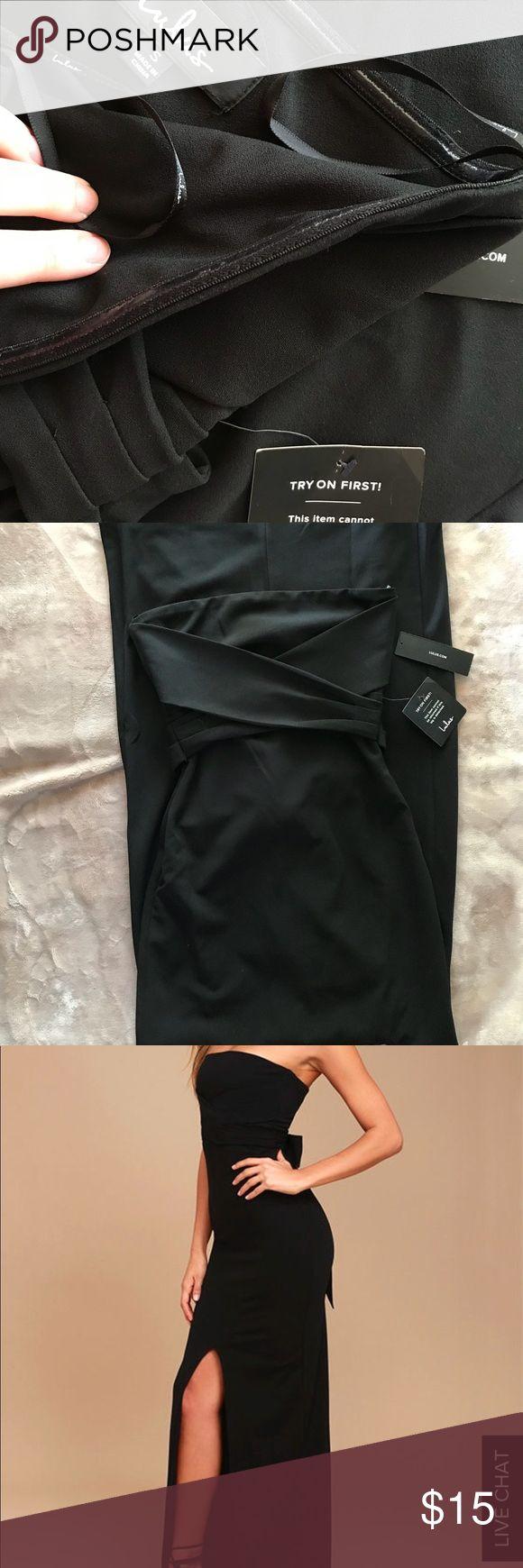NWT lulu black maxi strapless dress w/slit Brand new. Long black maxi dress. Strapless. Front slit. Tie back. Lulu's Dresses Strapless