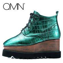 QMN véritable en cuir femmes coins bottes Femmes Cheville Bottes Chaussures Femme Plate-Forme Bottes D'hiver Dames Bootie Botas Femininas 34-39(China (Mainland))