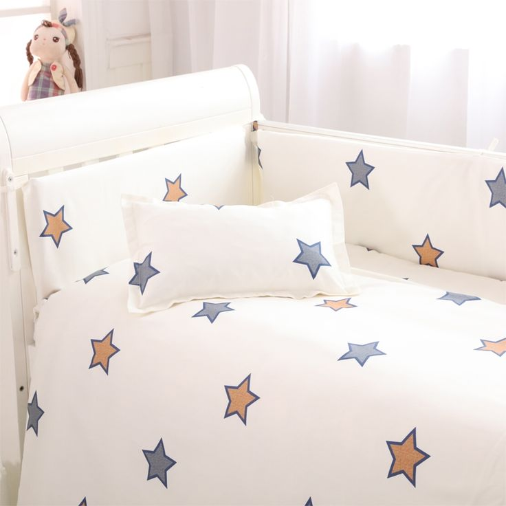 46.88$  Watch now - http://aliz0j.shopchina.info/go.php?t=32726580621 - (4 bumpers+1 sheet )5 pcs / set baby crib bumpers  bed sheet bedding set cotton bed around protection star Giraffe rabbit design  #magazineonlinebeautiful