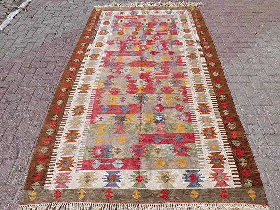 Turkish kilim rug vintage rug large rug wool area rug rug