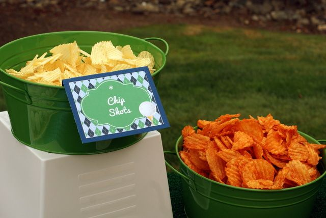 """""""chip shots"""" golf party food ideas -B. Lovely Events #golfparty"""