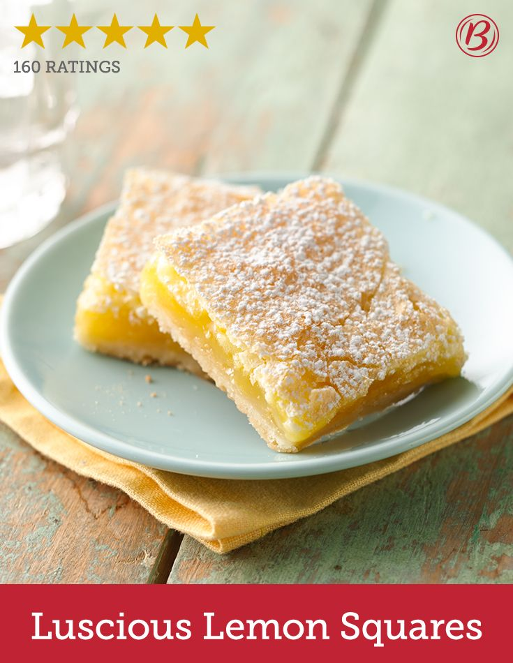 These refreshingly sweet and lightly tart lemon squares are one of Betty's best desserts. Continuously raking in the 5-star ratings, many reviewers call this recipe their go-to springtime sweet!