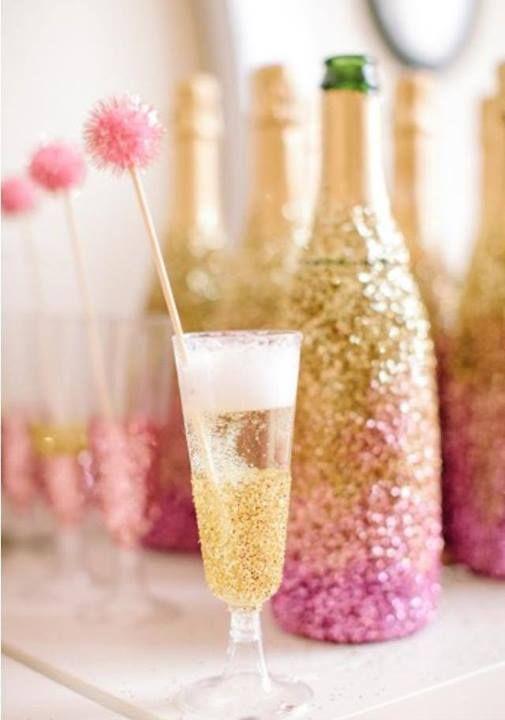 Pink glitter champagne bottles