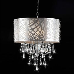 This would look cool in the livingroom corner near the sliding glass door. @Lisa Surroz @Overstock - Bring an elegant, luxurious touch to your home decor with this beautiful four-light chandelier. This light fixture features a chrome finish, shade and clear crystal glass details.http://www.overstock.com/Home-Garden/4-light-Chrome-Crystal-Chandelier/5244435/product.html?CID=214117 $204.99