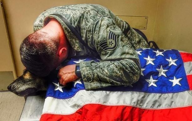 Airman Stays By His Dying Dog's Side 'Til The End