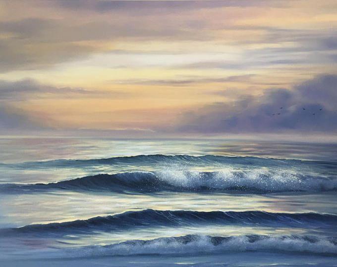 Large Sunrise Painting Seascape Art Landscape Ocean Waves Beach Painting Coastal Art Original Oil Painting Ocean Painting Sunrise Painting Beach Painting