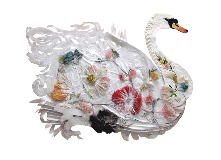 Embroidered and embellished Swan, covered in flowers... by Karen Nicol