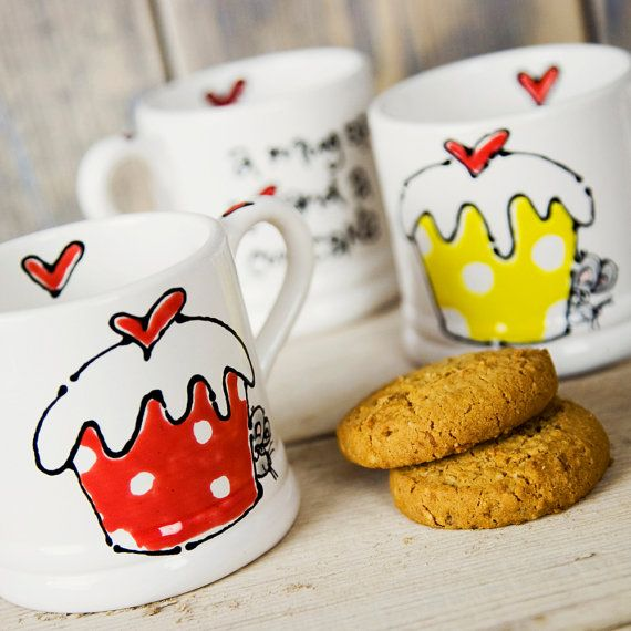 Personalized Hand painted Ceramic  Mug by EclecticTeaLondon, $18.75
