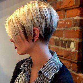 3 coupe de cheveux avec poney court blond   – Frisuren