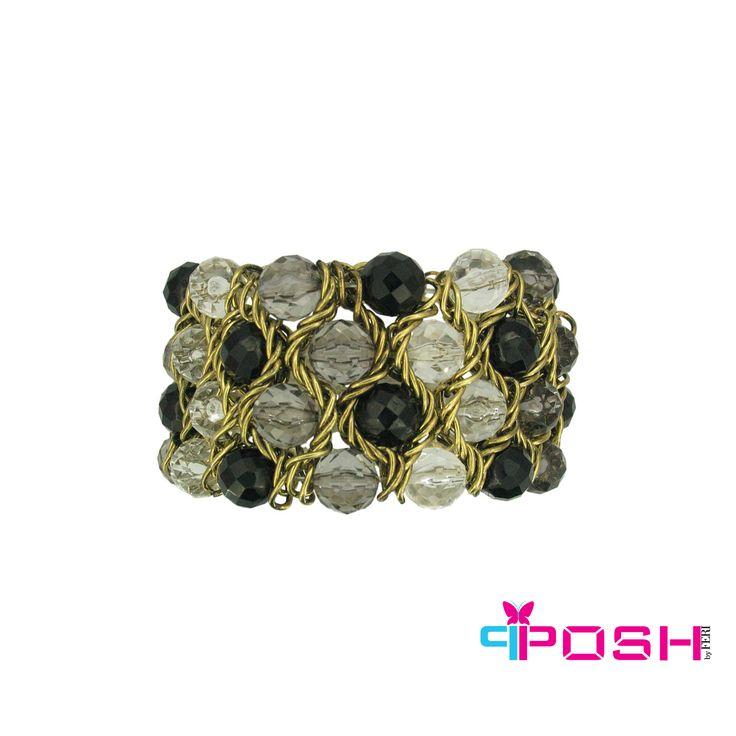 Celine - Multi colour beads stretch bracelet -Antique gold colour -Dimensions: 11 X 3 cm #bracelet #jewelry
