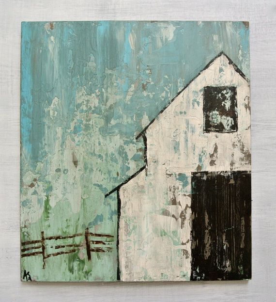"""White Barn Original Painting on Wood.  Titled: """"Slow Down"""" 16 by 18 Inches"""