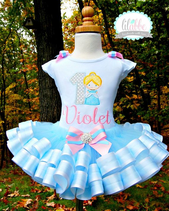 Cinderella Tutu Set - Includes Top/onesie, Tutu, Hair Accessory; ADOR-A-BLEEE!!!! =D PERFECT for her First Birthday!!! <3
