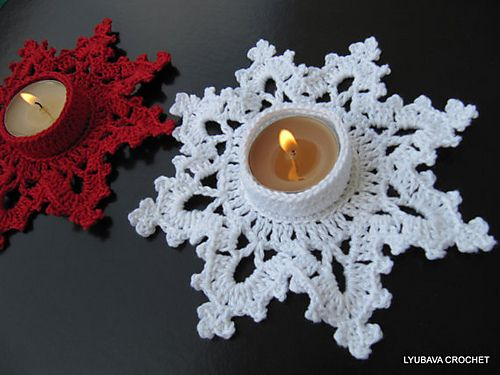 """Beautiful """"MELTING SNOWFLAKE"""" design crochet CANDLE HOLDERS can add special look to your CHRISTMAS DECORATIONS.  These crochet candle holders are 100% handmade with mercerised cotton cr..."""