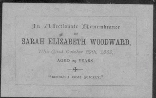 Ancestors At Rest: Funeral Card Sarah Woodward