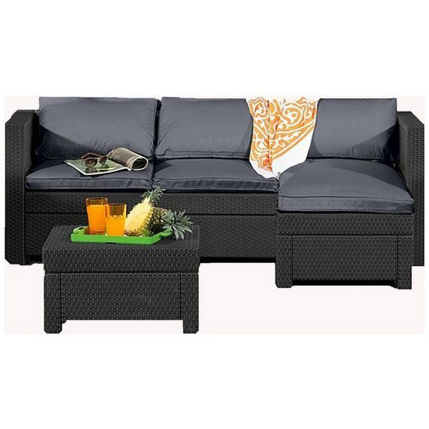 329 Buy Keter Oxford Rattan Effect Outdoor Corner Sofa Graphite At Argos Thousands Of Products For Same Corner Sofa Set Corner Sofa Garden Table And Chairs
