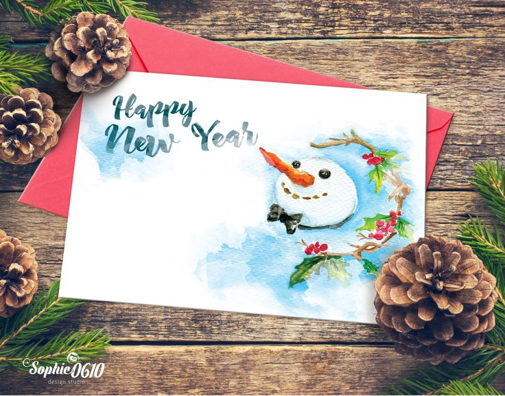 Christmas Printable Card 21cm x 15cm, Watercolor Handmade Painted, Happy New Year, Instant Download, Digital Files by Sophie0610Designs on Etsy