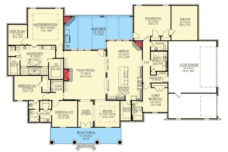 Architectural Designs 56361 SMRemove Game Room and Theater.Bedroom 3 should become a study with opening off of foyer.