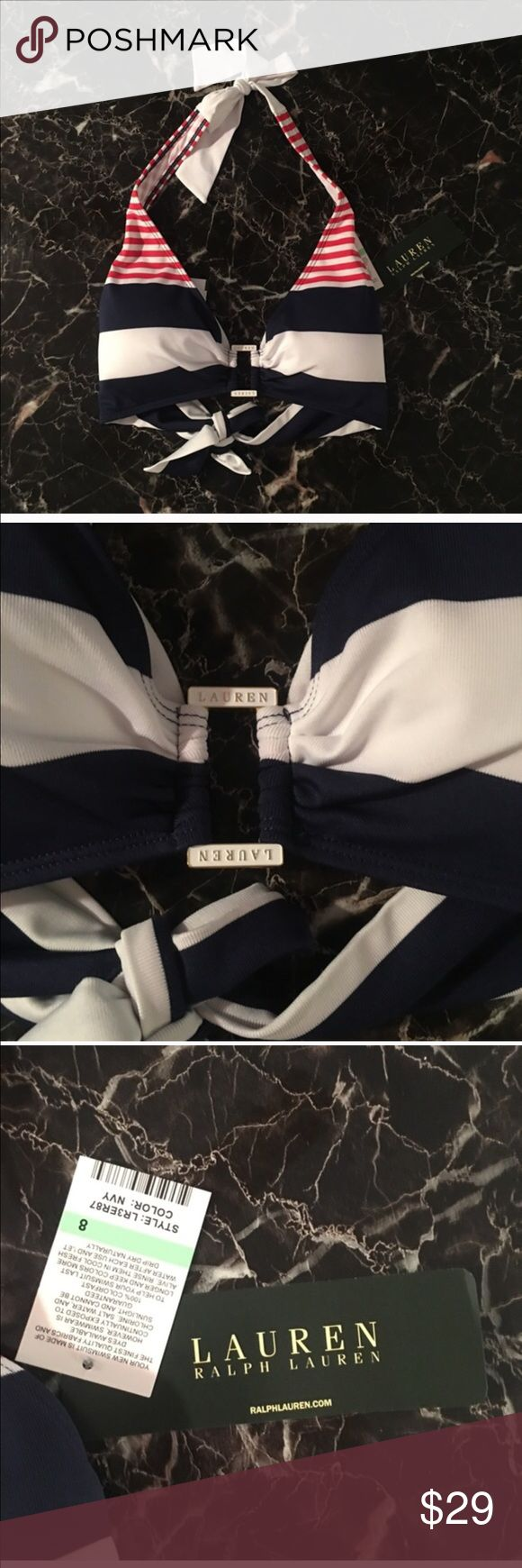 NWT Ralph Lauren Nautical Striped Bikini Top Size 8 NWT Nautical Striped Halter Neck Ralph Lauren Bikini Top. Perfect Condition.  All items come from a smoke free home and are shipped on the same or following day an order is placed.   Reasonable offers are considered and often accepted. Deals on bundles are also available. Ralph Lauren Swim Bikinis