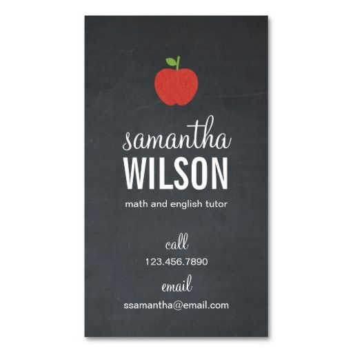 Chalkboard Apple Teacher Business Card. This is a fully customizable business card and available on several paper types for your needs. You can upload your own image or use the image as is. Just click this template to get started!