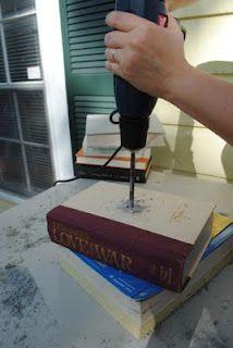 Stacked book lamp DIY