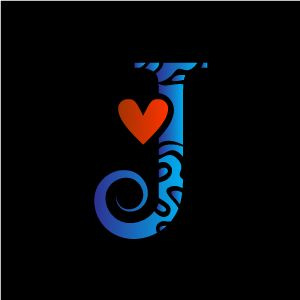 Heart Clipart Blue Alphabet J With Black Background Download