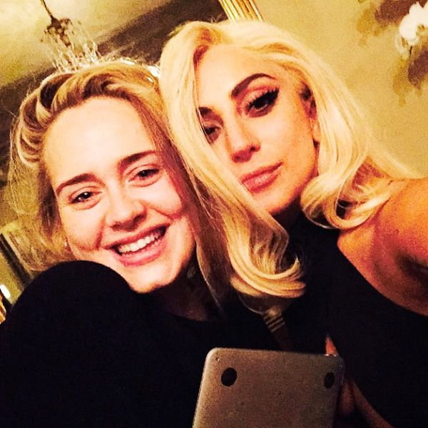 Lady Gaga and Adele Snap Epic Selfie http://www.people.com/article/lady-gaga-adele-instagram-selfie-new-music